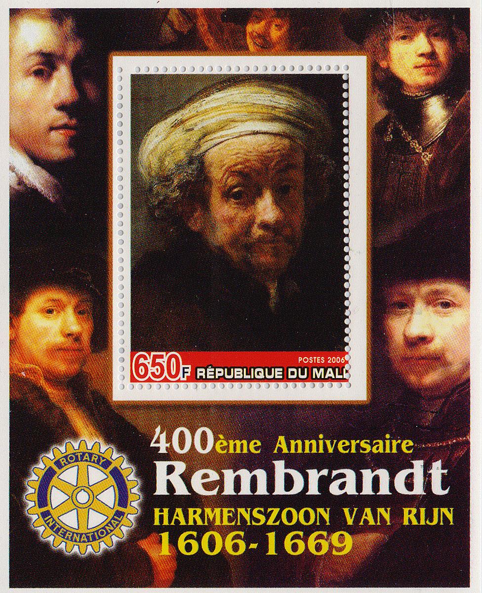 Почтовый блок Рембрандт. 400 лет со дня рождения. Мали, 2006 годМКСПБ 36-2016.36Почтовый блок Рембрандт. 400 лет со дня рождения. Мали, 2006 год