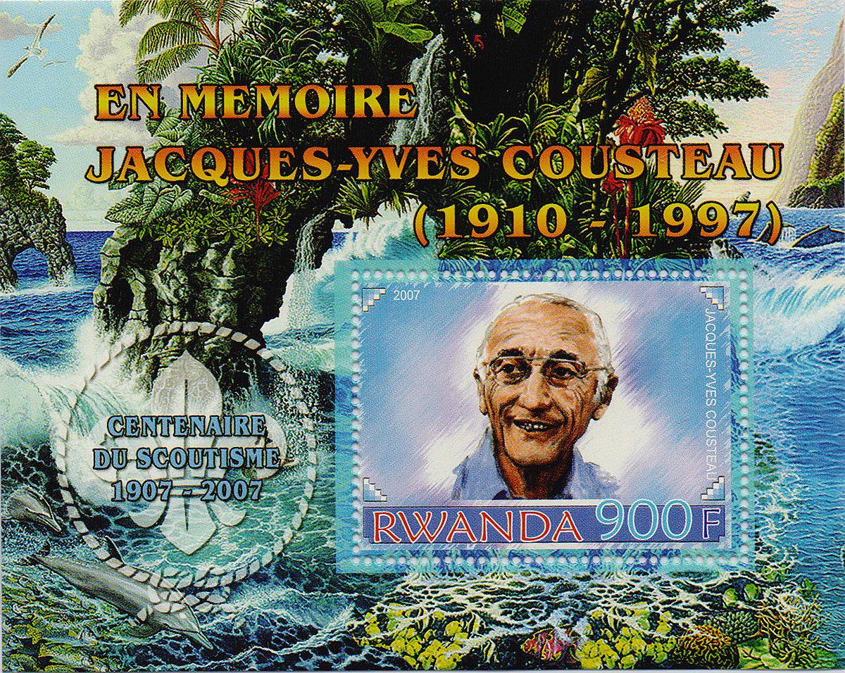Почтовый блок Жак-Ив Кусто. Руанда, 2007 годМКСПБ 36-2016.43Почтовый блок Жак-Ив Кусто. Руанда, 2007 год. Размер блока: 8.8 х 11 см. Размер марки: 3.7 х 5 см. Сохранность хорошая.