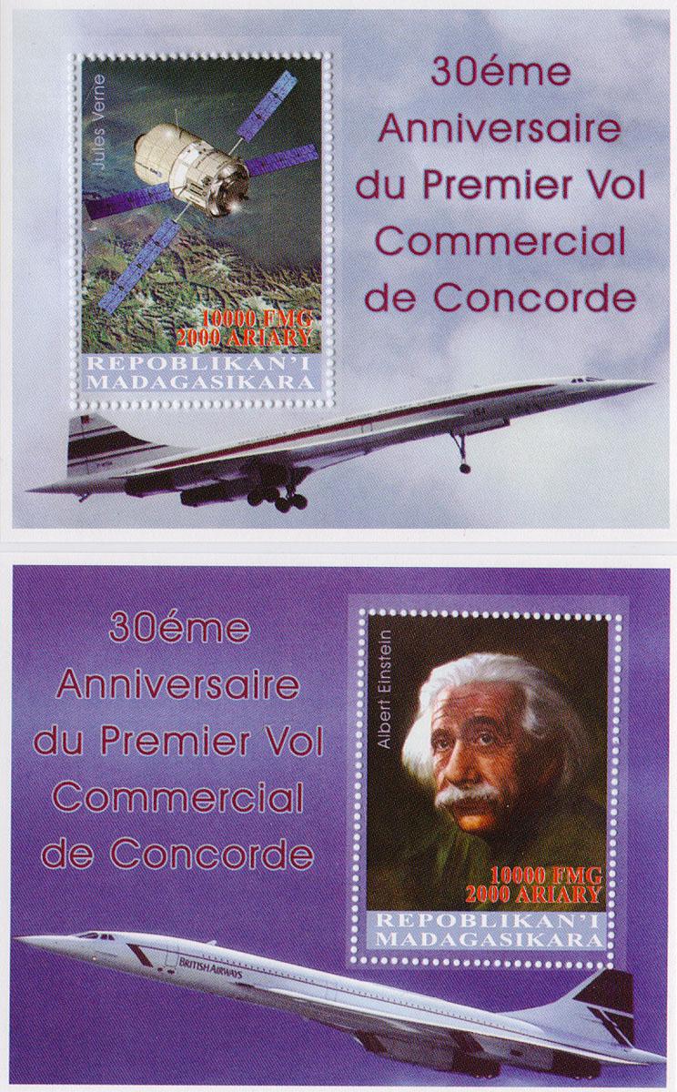 Комплект из 2 почтовых блоков К 30-летнему юбилею Конкорда. Мадагаскар, 1992 годМКСПБ 36-2016.41Комплект из 2 почтовых блоков К 30-летнему юбилею Конкорда. Мадагаскар, 1992 год. Размер блоков: 8 х 10 см. Размер марок: 3.7 х 5 см. Сохранность хорошая.