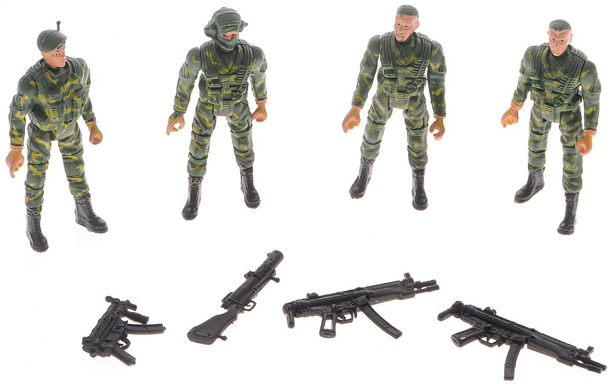 Shantou Игровой набор Warrior Dreade AughtD226-H39051Набор солдатиков Shantou Warrior Dreade Aught позволит ребенку моделировать сюжеты из рабочих будней отряда специального назначения. Набор представлен 4 солдатами, которые одеты в различную униформу и оснащены комплектом оружия. Солдаты и их оружие изготовлены из пластика и раскрашены вручную. У фигурок двигаются конечности, а оружие подходит к каждому персонажу.