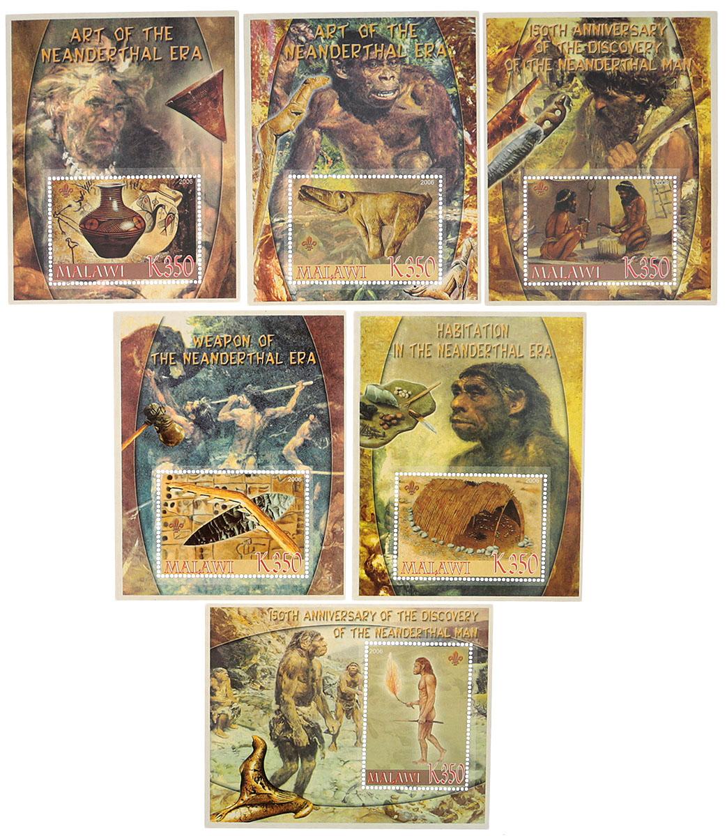 Комплект из 6 почтовых блоков Неандертальская эра. Малави, 2005 годМКСПБ 36-2016.10Комплект из 6 почтовых блоков Неандертальская эра. Малави, 2005 год. Размер блоков: 8 х 10 см. Размер марок: 3.5 х 5 см. Сохранность хорошая.