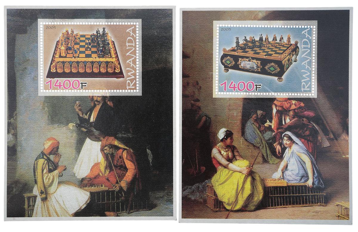 Комплект из 2 почтовых блоков Игра в шахматы. Руанда, 2005 годМКСПБ 36-2016.07Комплект из 2 почтовых блоков Игра в шахматы. Руанда, 2005 год