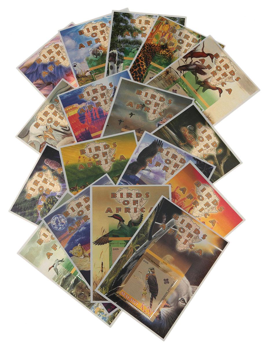 Комплект из 17 почтовых блоков Птицы Африки. Малави, 2005 годМКСПБ 36-2016.01Комплект из 17 почтовых блоков Птицы Африки. Малави, 2005 год. Размер блоков: 8 х 11.5 см. Размер марок: 4 х 4.5 см. Сохранность хорошая.