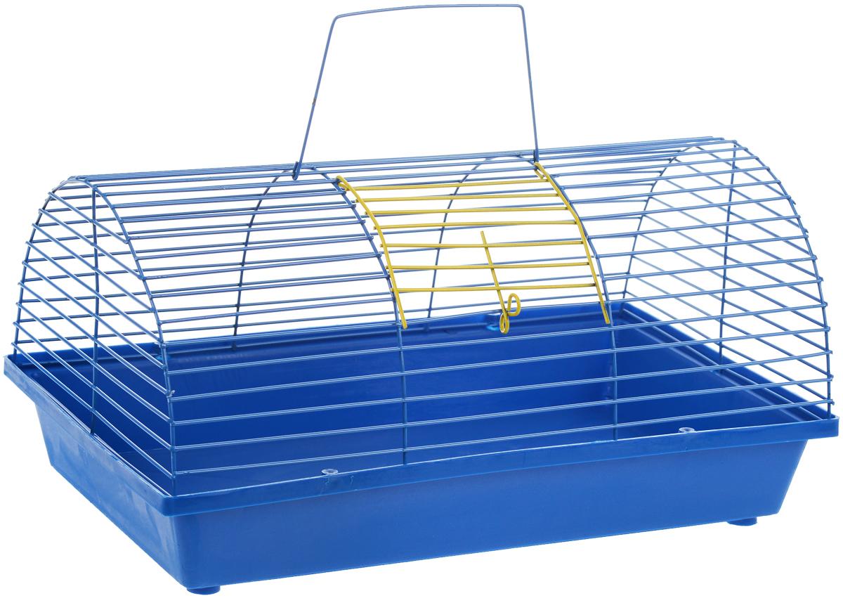 Клетка для грызунов ЗооМарк, цвет: синий поддон, синяя решетка, 36 х 23 х 17,5 см80_синий, синийКлетка ЗооМарк, выполненная из полипропилена и металла, подходит для мелких грызунов. Она имеет яркий поддон, удобна в использовании и легко чистится. Сверху имеется ручка для переноски. Такая клетка станет уединенным личным пространством и уютным домиком для маленького грызуна.