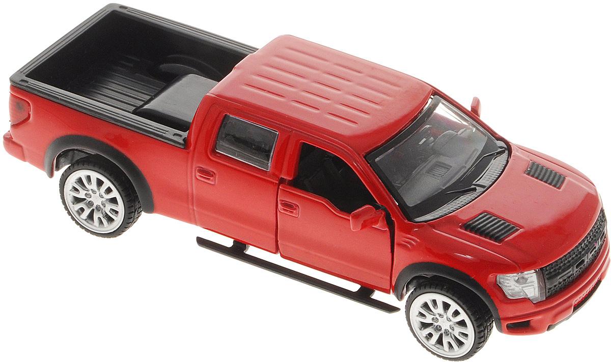 ТехноПарк Модель автомобиля Ford F-150 SVT Raptor цвет красный67329Модель автомобиля ТехноПарк Ford F-150 SVT Raptor, выполненная из металла, пластика и резины, станет любимой игрушкой вашего малыша. Игрушка представляет собой модель автомобиля Ford F-150 SVT Raptor в масштабе 1:43. Передние дверцы модели открываются, а прорезиненные колеса обеспечивают надежное сцепление с любой поверхностью пола. Модель оснащена инерционным ходом: достаточно немного отвести ее назад, а затем отпустить - машинка быстро поедет вперед. Ваш ребенок будет часами играть с этой машинкой, придумывая различные истории. Порадуйте его таким замечательным подарком!