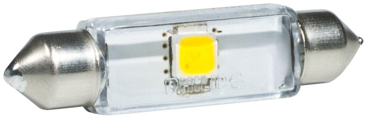 Лампа автомобильная светодиодная Philips X-tremeVision LED, для салона, цоколь C5W Fest T10,5 (SV8,5-43/11), 12V, 1W129466000KX1Автомобильная лампа Philips X-tremeVision LED излучает дневной свет, обеспечивая улучшенное освещение интерьера. Лампа дает в 5 раз больше света по сравнению со стандартными лампами накаливания, высокомощный долговечный светодиод обеспечивает яркое и точное освещение салона автомобиля, не ослепляя при этом водителя. Лампы Philips X-tremeVision LED обладают 12-летним сроком службы и обладают исключительной термостойкостью и устойчивостью к вибрациям. Угол освещения: 120°.