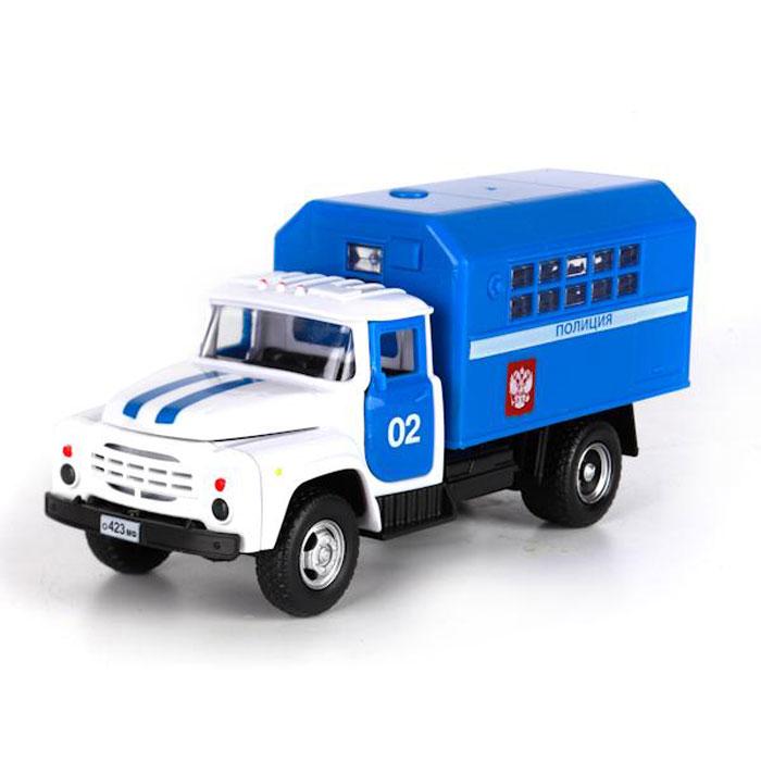 ТехноПарк Грузовик ЗИЛ 130 ПолицияX600-H09116-RИнерционная машинка ТехноПарк ЗИЛ 130 Полиция, выполненная из пластика, станет любимой игрушкой вашего малыша. Игрушка представляет собой модель полицейского автомобиля марки ЗИЛ. У машинки открываются дверцы кабины, капот, а также задние дверцы кузова. При открывании крышки капота и дверей кабины активируются световые и звуковые эффекты. Игрушка оснащена инерционным ходом. Достаточно немного подтолкнуть машинку вперед или назад, а затем отпустить - и она быстро поедет в том же направлении. Прорезиненные колеса обеспечивают надежное сцепление с любой гладкой поверхностью. Ваш ребенок будет часами играть с этой машинкой, придумывая различные истории. Порадуйте его таким замечательным подарком! Для работы игрушки необходимы 3 батарейки типа АG13 (LR44) напряжением 1,5V (товар комплектуется демонстрационными).