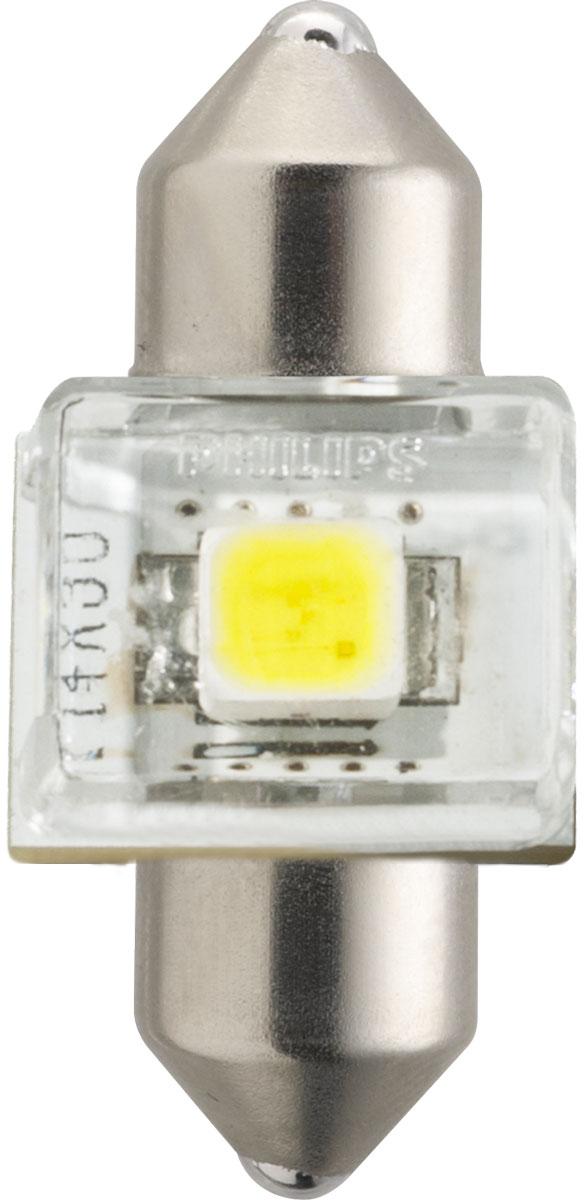 Лампа автомобильная светодиодная Philips X-tremeVision LED, для салона, цоколь C5W Fest T14 (SV8,5-30/11), 12V, 1W129416000KX1Автомобильная лампа Philips X-tremeVision LED излучает дневной свет, обеспечивая улучшенное освещение интерьера. Лампа дает в 5 раз больше света по сравнению со стандартными лампами накаливания, высокомощный долговечный светодиод обеспечивает яркое и точное освещение салона автомобиля, не ослепляя при этом водителя. Лампы Philips X-tremeVision LED обладают 12-летним сроком службы и обладают исключительной термостойкостью и устойчивостью к вибрациям. Угол освещения: 120°.