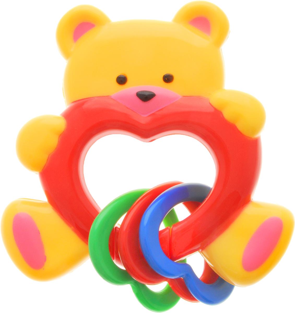 Умка Погремушка МишкаRN22Забавная развивающая погремушка Умка Мишка поднимет вашему малышу настроение и непременно вызовет улыбку! Игрушка выполнена из качественного пластика в виде мишки, держащего в лапах сердечко. Внутри игрушки находится погремушка, гремящая при встряхивании. Снизу к игрушке крепятся три пластиковых разноцветных сердечка, которые весело гремят и перемещаются. Игрушка очень удобна для маленьких детских ручек. Малыш сможет ее держать, перекладывать из одной ручки в другую. Игрушка способствует развитию слухового, зрительного и эмоционального восприятия, тактильных ощущений, мелкой моторики.