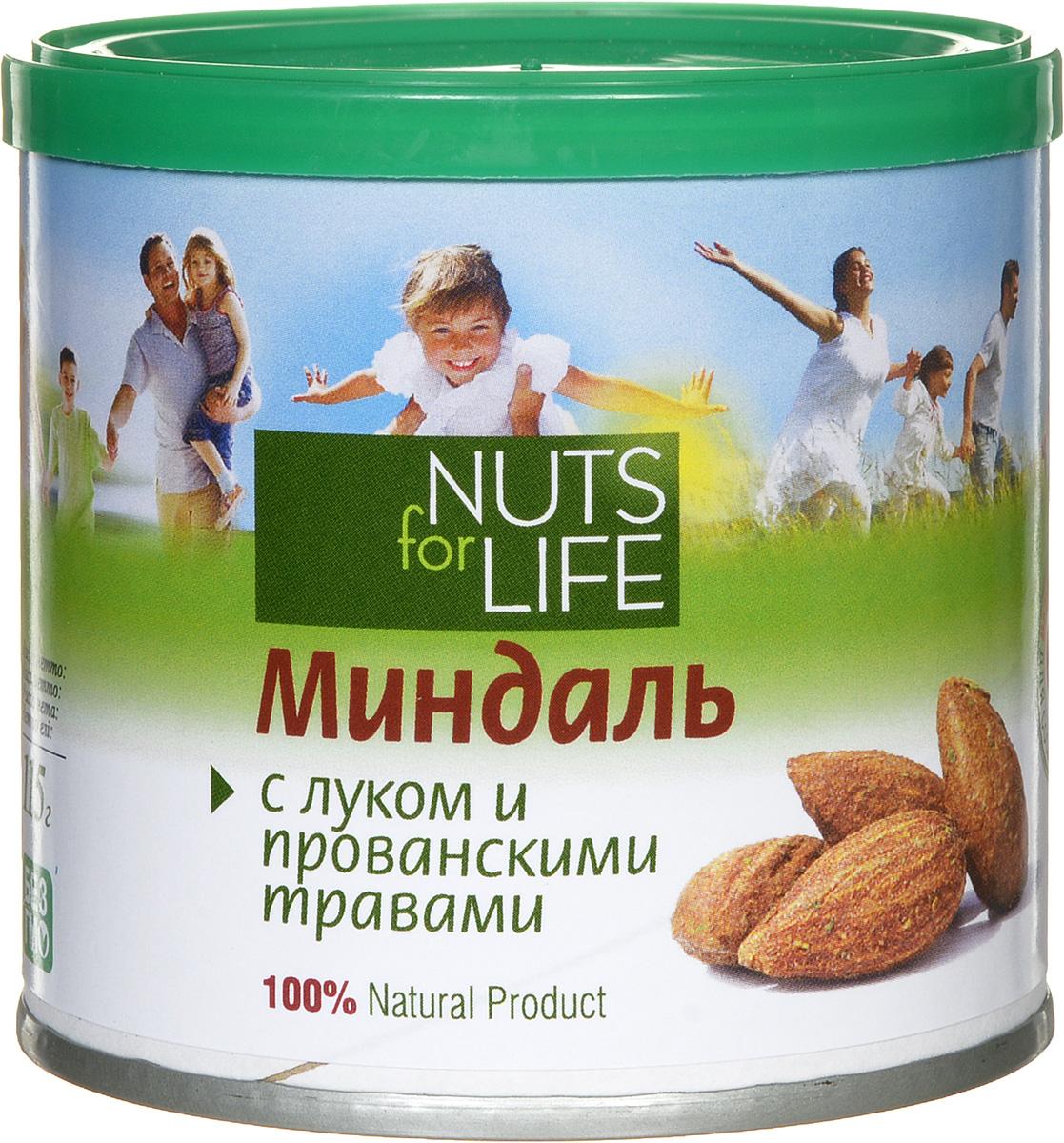Nuts for Life Миндаль обжаренный соленый с луком и прованскими травами, 115 г