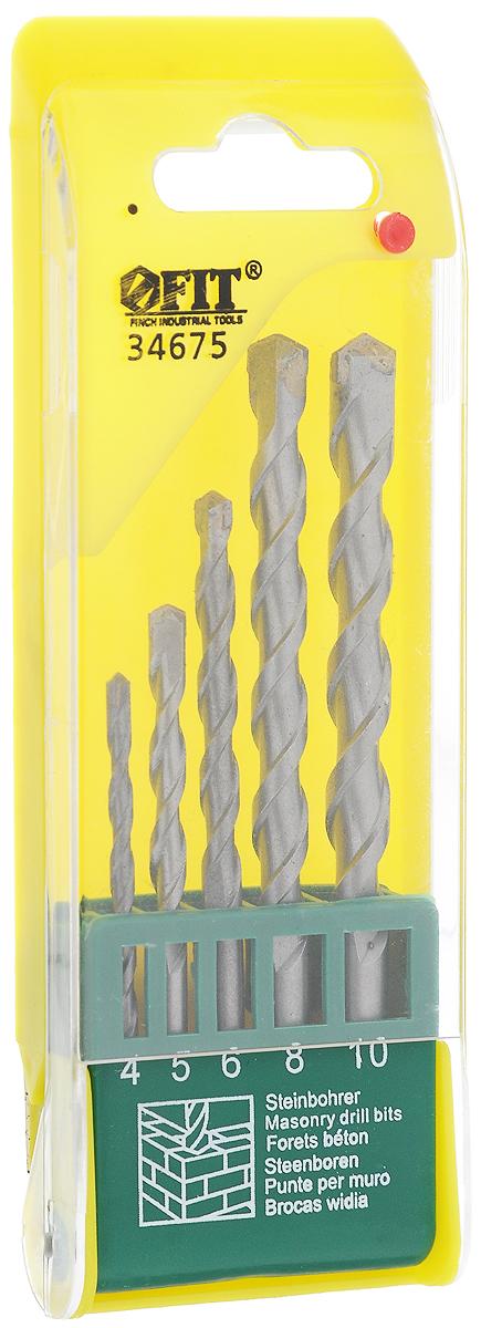 Набор сверл по бетону FIT, цвет: желтый, 5 шт. 3467534675_желтыйНабор сверл FIT применяется совместно с аккумуляторными и электродрелями для ударного сверления твердых материалов, таких как бетон, кирпич, камень, мрамор и т.д. Сверла изготовлены из усиленной инструментальной стали и имеют победитовую режущую кромку, благодаря которой оснастка не изнашивается длительное время. Имеют цилиндрический хвостовик. В набор входят 5 сверл диаметром 4, 5, 6, 8, 10 мм. Для удобства хранения инструмент упакован в пластиковый бокс.