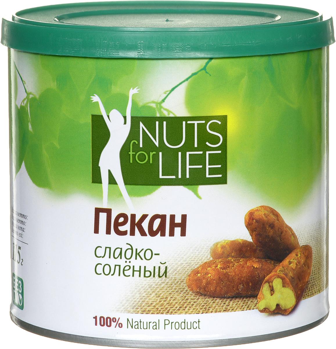 Nuts for Life Пекан обжаренный в сахаре с солью, 115 гU921149Nuts for Life Пекан сладко-соленый - потрясающе вкусный снек, а так же идеальное дополнение к любому мороженому! Просто добавьте несколько орехов в мороженое, и оно сразу станет вашим любимым!