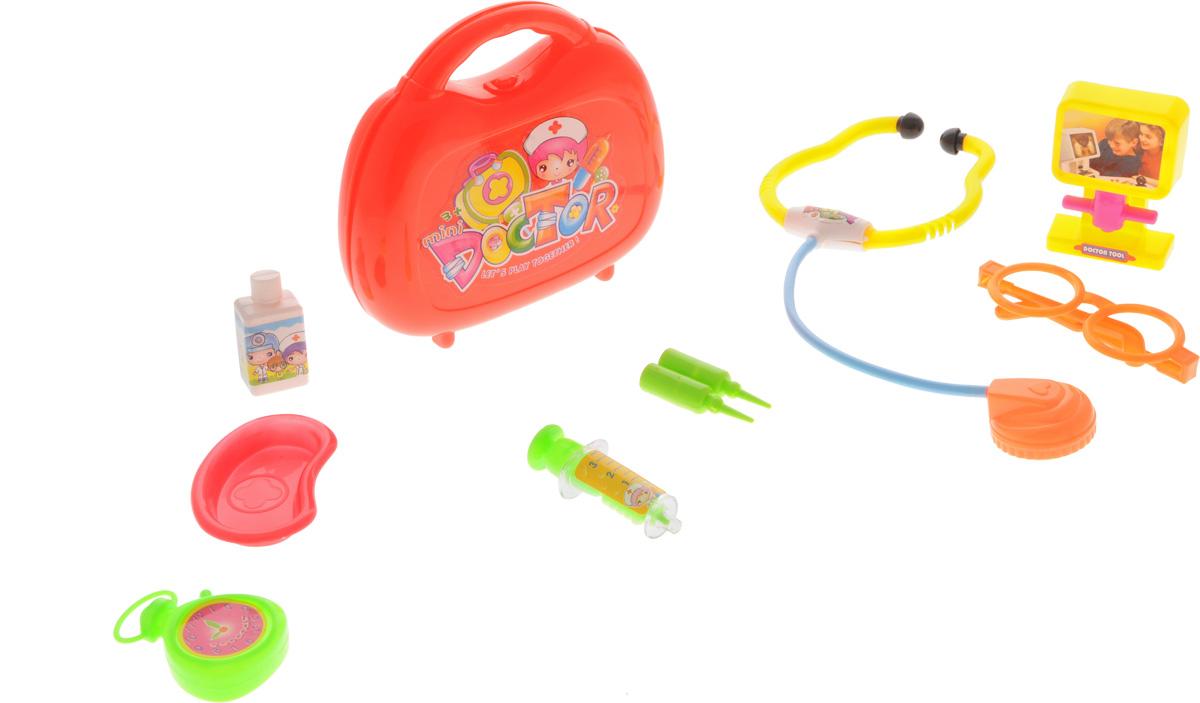 Shantou Игрушечный набор доктораA371-H34238Игрушечный набор доктора Shantou - замечательный набор для сюжетно-ролевых игр в больницу и доктора. С таким набором ваш ребенок окунется в увлекательную атмосферу игры. Набор включает в себя: стетоскоп, секундомер, монитор, баночку для лекарств, 2 ампулы, очки, шприц, ванночку, а также чемоданчик, в который можно убрать все предметы доктора. С этим набором ваш маленький доктор сможет почувствовать себя квалифицированным специалистом. Теперь все игрушки будут совершенно здоровы!