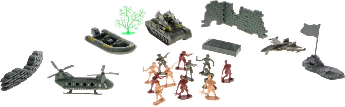 Shantou Игровой набор MilitaryR298-H39065Игровой набор военной техники с солдатиками Shantou Military позволит ребенку разыгрывать множество сюжетных ситуаций, в которых он сможет почувствовать себя командиром настоящего войска. Различные аксессуары, из которых можно сложить элементы разрушенных зданий, сделают игровой процесс более занимательным и разнообразным. Игровой набор Military станет отличным подспорьем в игрушечных баталиях мальчика.