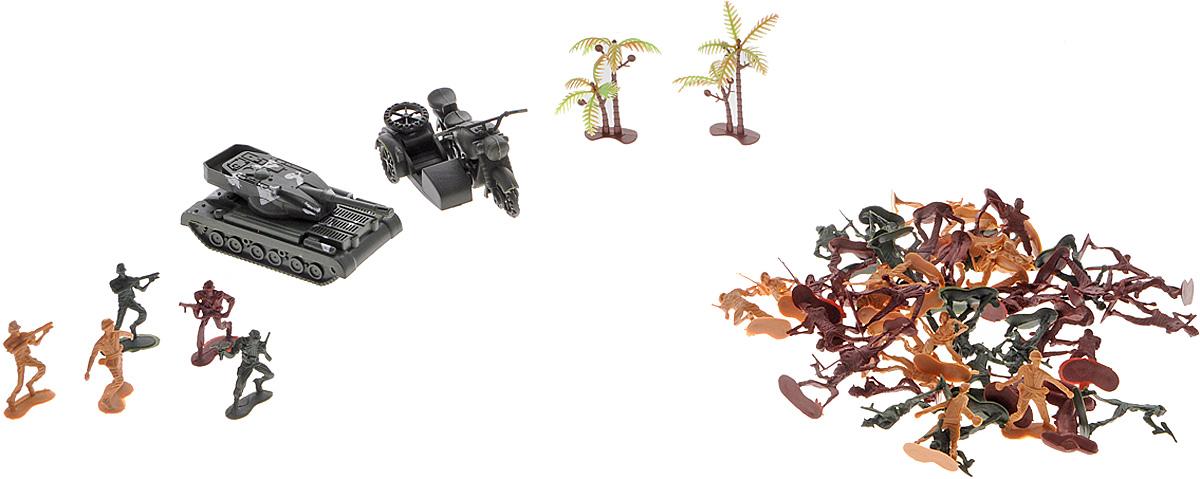 Shantou Игровой набор WarfareA285-H39001В наборе Shantou Warfare солдатиков столько, что их можно разделить на несколько враждующих армий. Кроме того, в наборе есть танк, мотоцикл и деревья для создания более реалистичной атмосферы поля боя. В процессе игры, придумывая новые стратегии ведения боя, можно тренировать аналитическое мышление и развивать воображение.