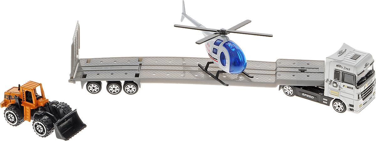 Shantou Трейлер с вертолетом и погрузчикомQ266-H36114Трейлер с вертолетом и погрузчиком Shantou непременно понравится любому мальчику. Кабина тягача, корпус вертолета и погрузчика выполнены из металла. Полуприцеп, винт, полозья, ковш, колеса - из прочного пластика. Колеса погрузчика и трейлера, а также винт вертолета свободно вращаются, пандус полуприцепа опускается. С таким набором малыш сможет устраивать различные соревнования и придумывать захватывающие сюжеты для игр.