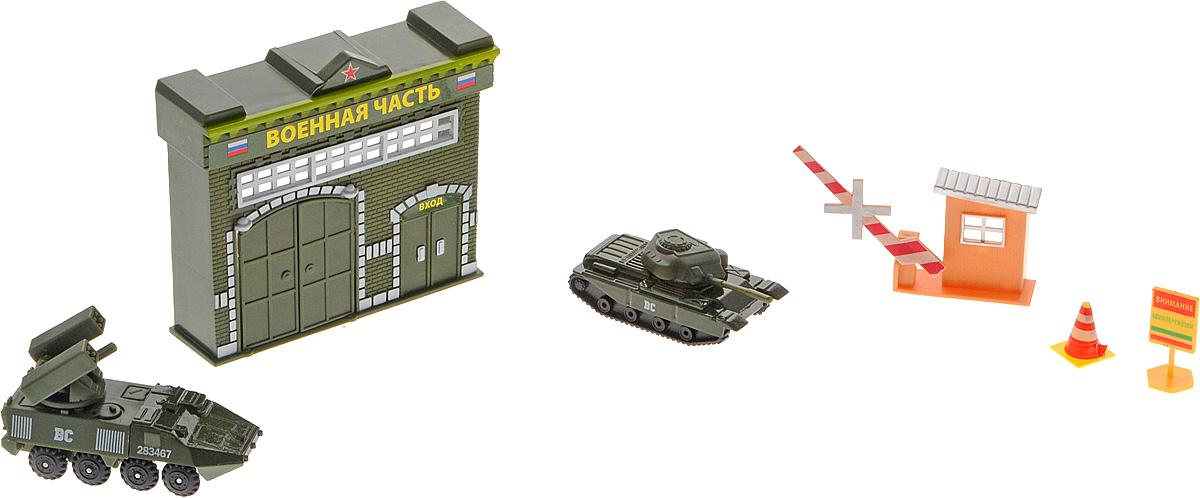 ТехноПарк Игровой набор Военнная часть30615Игровой набор ТехноПарк Военнная часть - это отличный игровой набор, который обязательно понравится мальчику, любящему играть с военной техникой. В комплект входит сама воинская часть с открывающимися воротами, КПП со шлагбаумом, предупреждающая табличка, дорожный конус, танк и зенитно-ракетный комплекс. Бронетехника выполнена из металла с пластиковыми элементами. Играя с набором, мальчик сможет самостоятельно придумать огромное множество сюжетных линий.