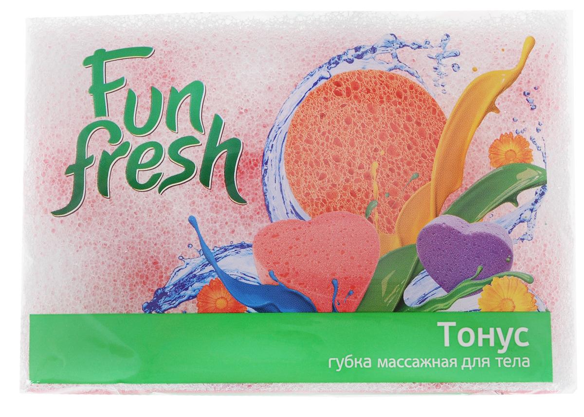 Губка для тела Fun Fresh Тонус, массажная, цвет: белый, розовый, 14 х 9,5 х 5 см