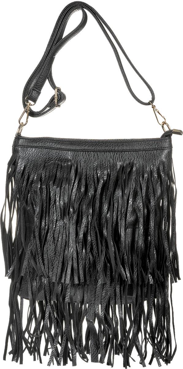 Сумка женская Kawaii Factory Boho, цвет: черный. KW100-000114KW100-000114Оригинальная сумка Boho от Kawaii Factory придется по душе тем девушкам, которые любят неожиданные сочетания и не боятся комбинировать разноплановые вещи. Изделие выполнено из искусственной кожи и украшено оригинальной бахромой, которая придает сумочке романтичный и одновременно смелый вид. Внутренний объем позволяет вместить в аксессуар все необходимое. Модель имеет одно основное отделение, закрывающееся на застежку-молнию. Внутри имеется прорезной кармашек на застежке-молнии и два накладных кармана для телефона и мелочей. В комплекте съемный плечевой ремень, который регулируется по длине. С сумочкой в стиле бохо вы без труда сможете создавать яркие образы из нарядов любого стиля. Разукрасьте городские серые будни, смело приковывая взгляды окружающих!