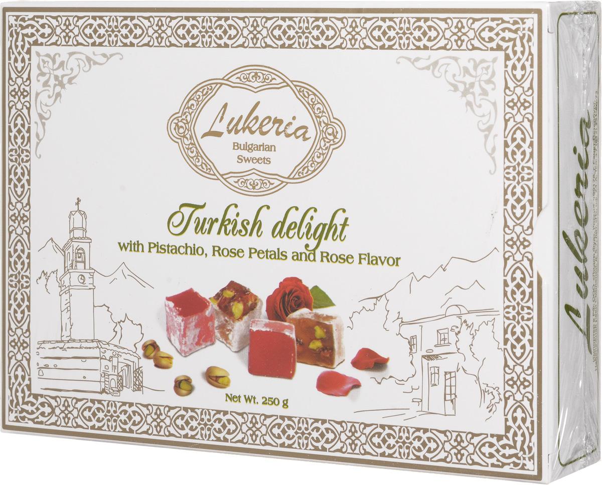 Lukeria Рахат-лукум с фисташками, лепесками и ароматом розы, 250 г