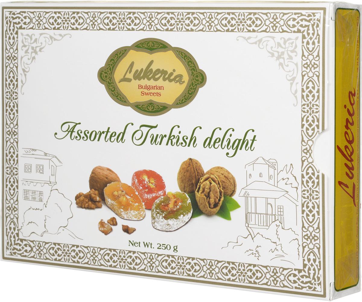 Lukeria Визирь Рахат-лукум с грецким орехом (ассорти с ароматами розы, мяты и лимона), 250 г