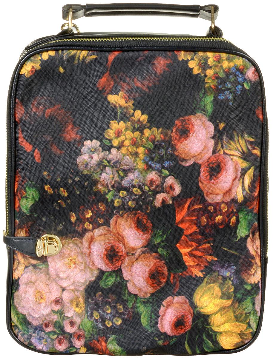 Сумка-рюкзак женская Kawaii Factory Flowery, цвет: черный. KW102-000069KW102-000069Стильная и элегантная сумка-рюкзак Kawaii Factory Flowery из искусственной кожи пригодится в любой ситуации: и как дамская сумка на деловом свидании, и в форме женственного рюкзака на дружеской встрече. Когда вы ведете активный образ жизни, а обстоятельства часто и непредсказуемо меняются, такой трансформер станет идеальным аксессуаром. Удобная ручка позволяет носить эту сумку как портфель в случае необходимости. Сумка-рюкзак оснащена удобным отделением для вещей на молнии с дополнительным надежным замком-защелкой. Внутри имеется прорезной кармашек на застежке-молнии и два накладных кармана для телефона и мелочей. Оригинальная сумка-рюкзак станет красивым дополнением образу активной современной девушки.
