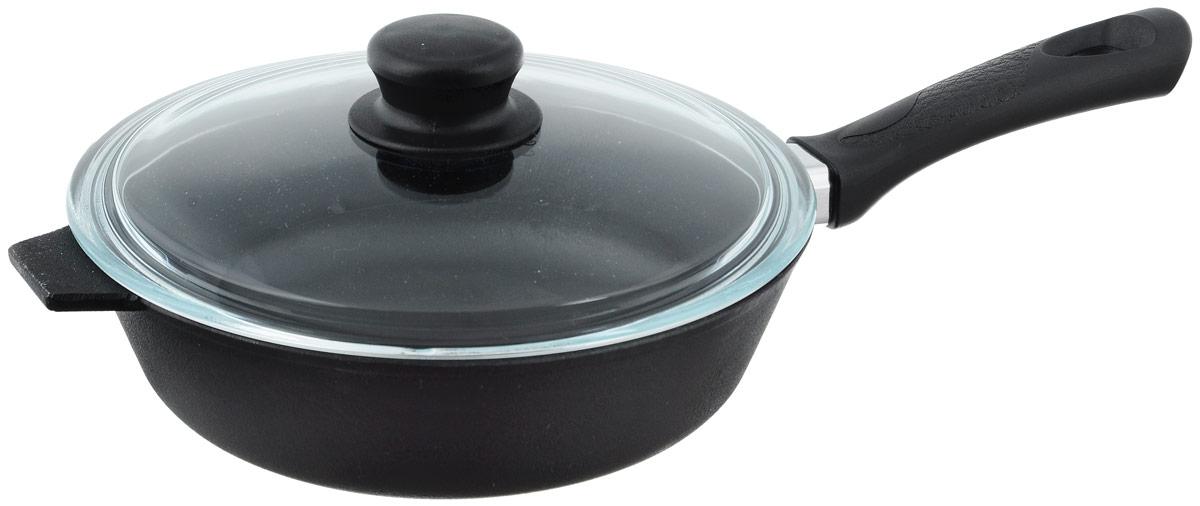 Сковорода чугунная Добрыня с крышкой. Диаметр 22 см. DO-3313DO-3313Сковорода Добрыня изготовлена из натурального экологически безопасного чугуна. Изделие оснащено пластиковой ручкой и стеклянной крышкой. Чугун является одним из лучших материалов для производства посуды. Его можно нагревать до высоких температур. Он очень практичный, не выделяет токсичных веществ, обладает высокой теплоемкостью и способен служить долгие годы. Такая сковорода замечательно подойдет для приготовления жаренных и тушеных блюд. Подходит для всех типов плит, включая индукционные. Крышку можно мыть в посудомоечной машине. Диаметр сковороды (по верхнему краю): 22 см. Диаметр индукционного диска: 14,5 см. Высота стенки: 6 см. Длина ручки: 16,5 см.