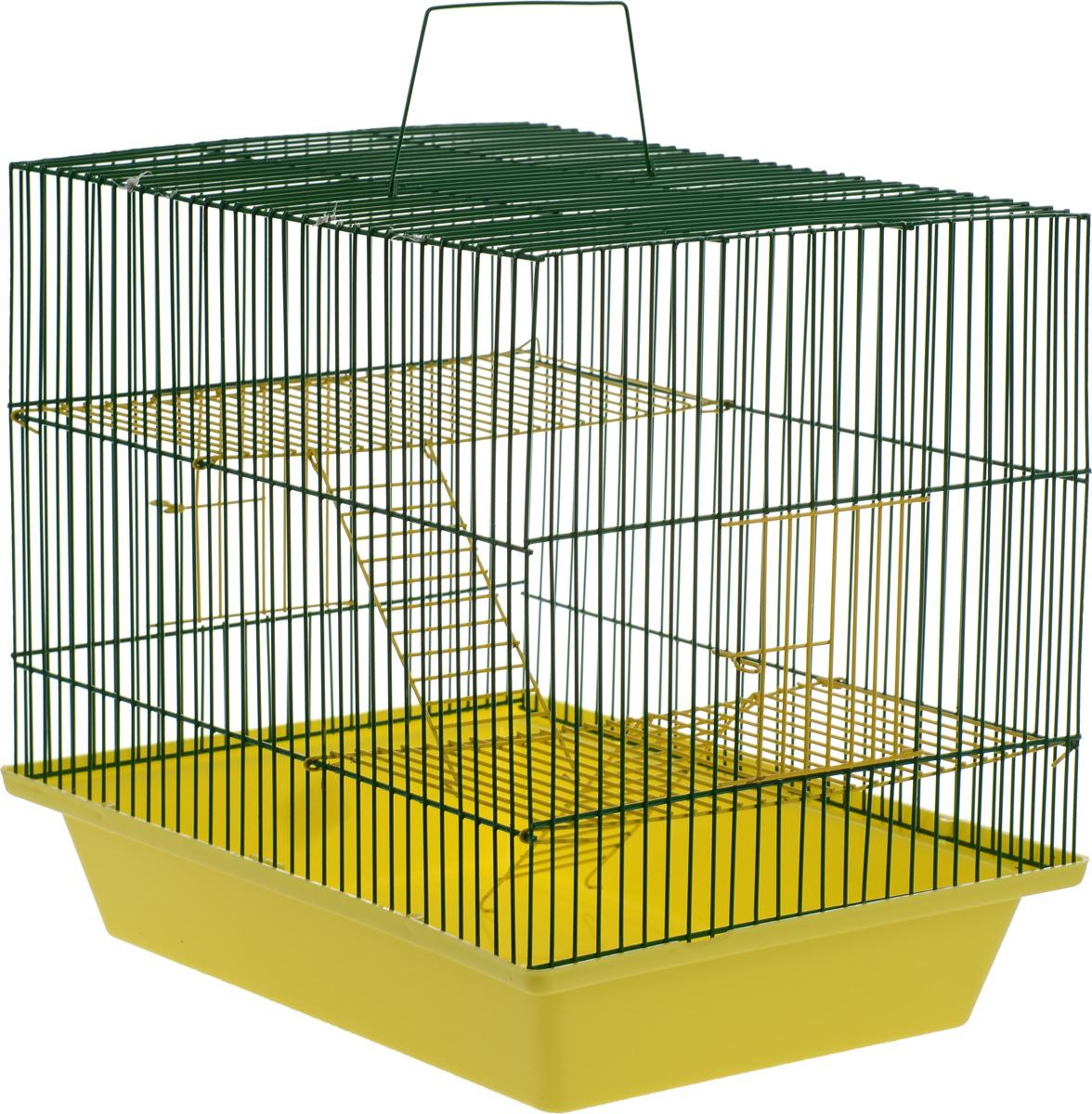 Клетка для грызунов ЗооМарк Гризли, 3-этажная, цвет: желтый поддон, зеленая решетка, желтые этажи, 41 х 30 х 36 см. 230ж230ж_желтый, зеленыйКлетка ЗооМарк Гризли, выполненная из полипропилена и металла, подходит для мелких грызунов. Изделие трехэтажное. Клетка имеет яркий поддон, удобна в использовании и легко чистится. Сверху имеется ручка для переноски. Такая клетка станет уединенным личным пространством и уютным домиком для маленького грызуна.