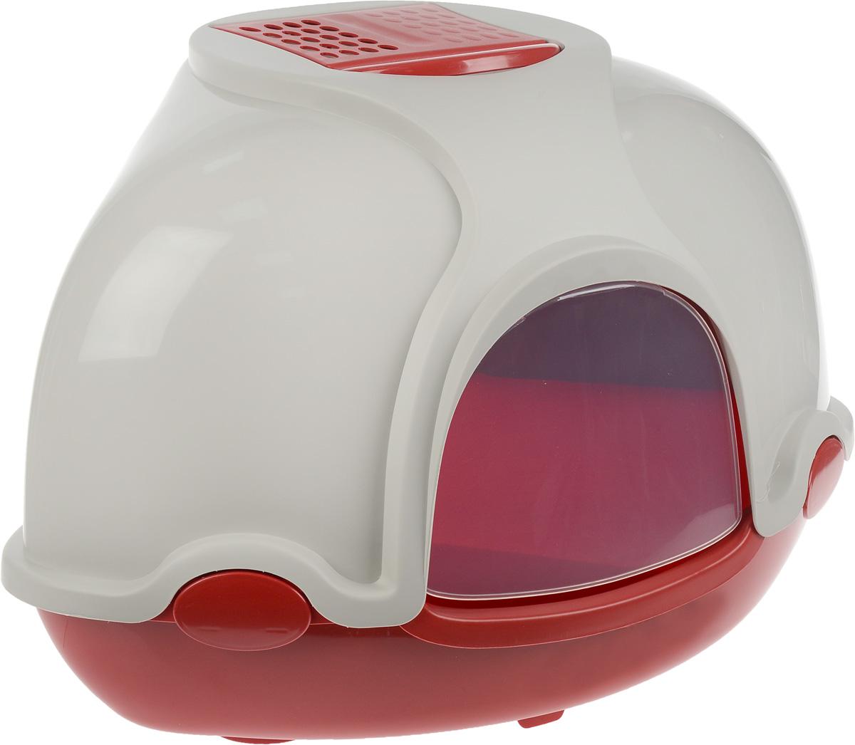 Туалет для кошек IMAC Ginger, закрытый, угловой, цвет: светло-серый, красный, 50 х 50 х 44,5 см84398Закрытый угловой туалет для кошек IMAC Ginger выполнен из высококачественного пластика. Он довольно вместительный и напоминает домик. Туалет оснащен прозрачной открывающейся дверцей, сменным угольным фильтром, совком и удобной ручкой для переноски. Такой туалет избавит ваш дом от неприятного запаха и разбросанных повсюду частичек наполнителя. Кошка в таком туалете будет чувствовать себя увереннее, ведь в этом укромном уголке ее никто не увидит. Кроме того, яркий дизайн с легкостью впишется в интерьер вашего дома. Туалет легко открывается для чистки благодаря практичным защелкам по бокам.