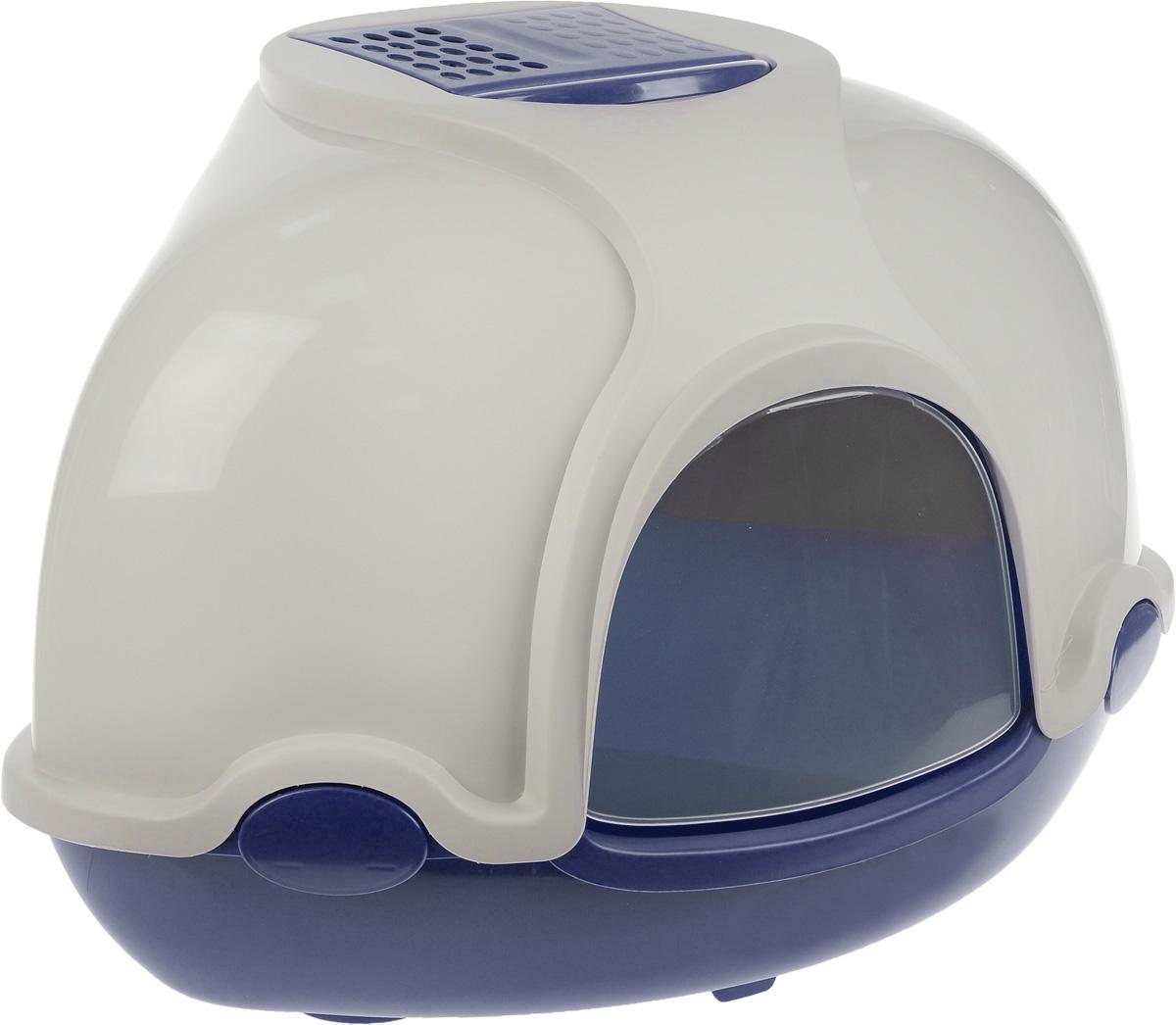 Туалет для кошек IMAC Ginger, закрытый, угловой, цвет: светло-серый, синий, 50 х 50 х 44,5 см84394Закрытый угловой туалет для кошек IMAC Ginger выполнен из высококачественного пластика. Он довольно вместительный и напоминает домик. Туалет оснащен прозрачной открывающейся дверцей, сменным угольным фильтром, совком и удобной ручкой для переноски. Такой туалет избавит ваш дом от неприятного запаха и разбросанных повсюду частичек наполнителя. Кошка в таком туалете будет чувствовать себя увереннее, ведь в этом укромном уголке ее никто не увидит. Кроме того, яркий дизайн с легкостью впишется в интерьер вашего дома. Туалет легко открывается для чистки благодаря практичным защелкам по бокам.
