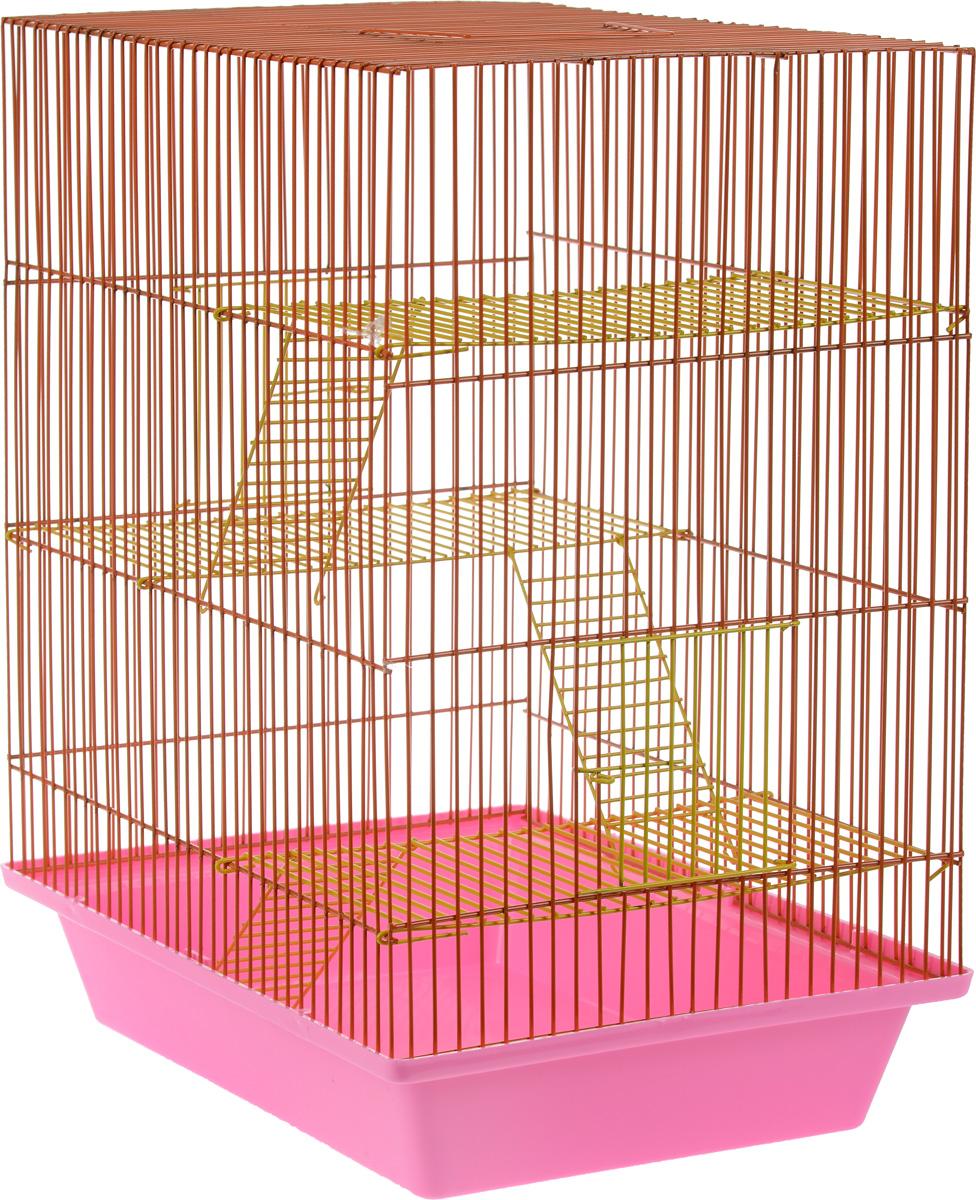 Клетка для грызунов ЗооМарк Гризли, 4-этажная, цвет: розовый поддон, оранжевая решетка, желтые этажи, 41 х 30 х 50 см. 240ж240ж_розовый, оранжевыйКлетка ЗооМарк Гризли, выполненная из полипропилена и металла, подходит для мелких грызунов. Изделие четырехэтажное. Клетка имеет яркий поддон, удобна в использовании и легко чистится. Сверху имеется ручка для переноски. Такая клетка станет уединенным личным пространством и уютным домиком для маленького грызуна.
