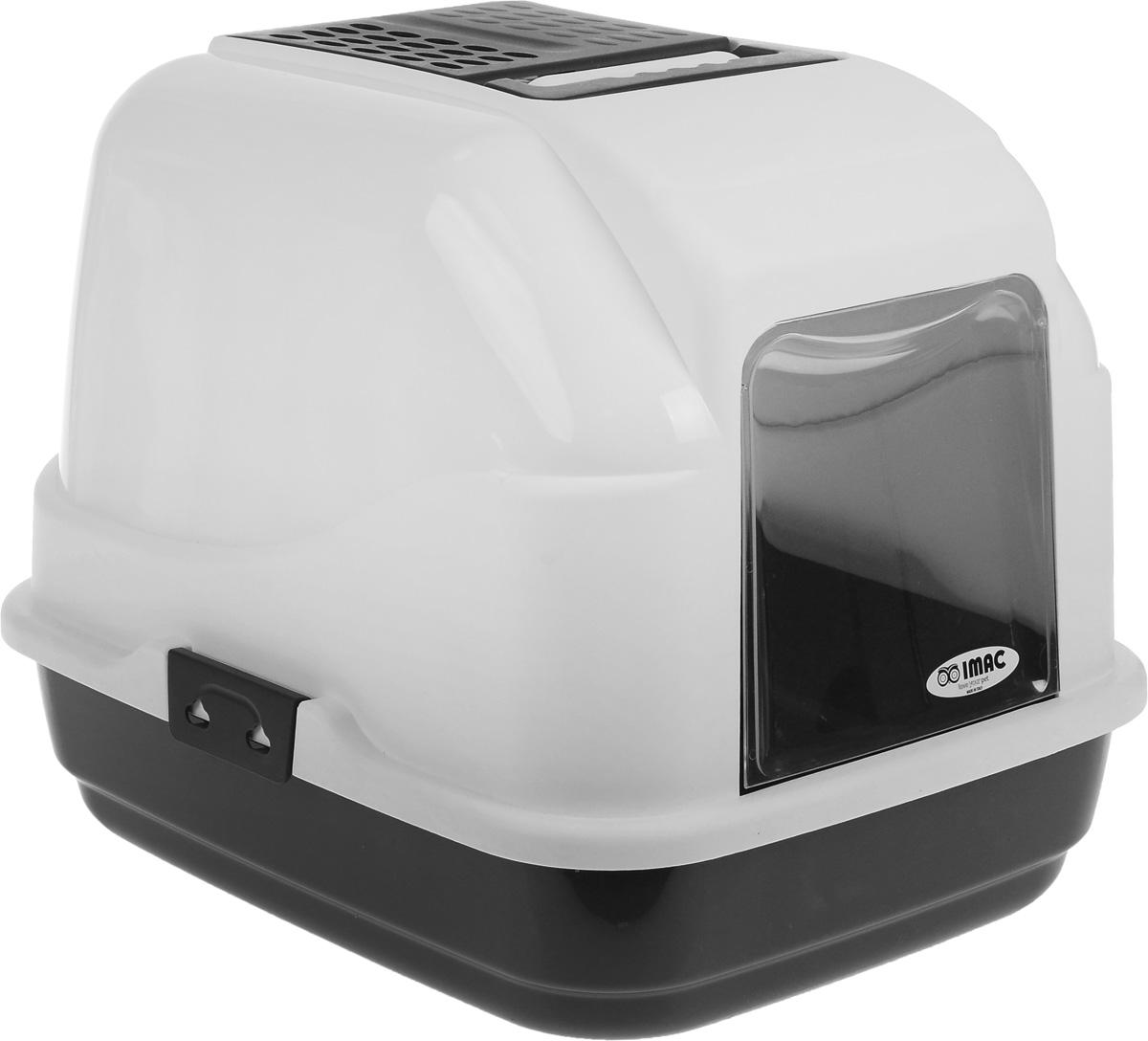 Туалет для кошек IMAC Easy Cat, закрытый, цвет: белый, черный, 50 х 40 х 40 см84091Закрытый туалет для кошек IMAC Easy Cat выполнен из высококачественного пластика. Он довольно вместительный и напоминает домик. Туалет оснащен прозрачной открывающейся дверцей, сменным угольным фильтром, совком и удобной ручкой для переноски. Такой туалет избавит ваш дом от неприятного запаха и разбросанных повсюду частичек наполнителя. Кошка в таком туалете будет чувствовать себя увереннее, ведь в этом укромном уголке ее никто не увидит. Кроме того, яркий дизайн с легкостью впишется в интерьер вашего дома. Туалет легко открывается для чистки благодаря практичным защелкам по бокам.