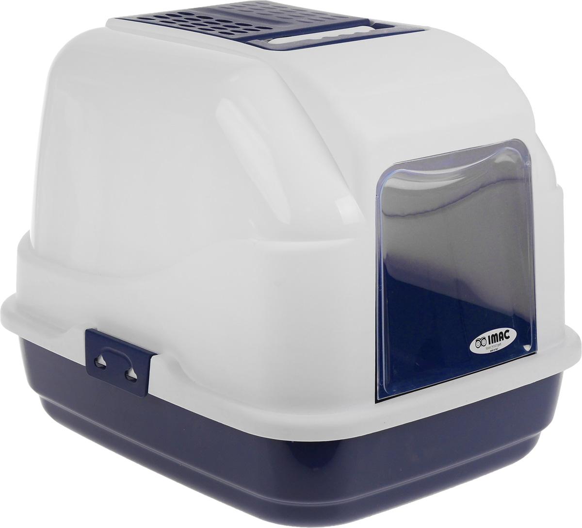 Туалет для кошек IMAC Easy Cat, закрытый, цвет: белый, синий, 50 х 40 х 40 см84094Закрытый туалет для кошек IMAC Easy Cat выполнен из высококачественного пластика. Он довольно вместительный и напоминает домик. Туалет оснащен прозрачной открывающейся дверцей, сменным угольным фильтром, совком и удобной ручкой для переноски. Такой туалет избавит ваш дом от неприятного запаха и разбросанных повсюду частичек наполнителя. Кошка в таком туалете будет чувствовать себя увереннее, ведь в этом укромном уголке ее никто не увидит. Кроме того, яркий дизайн с легкостью впишется в интерьер вашего дома. Туалет легко открывается для чистки благодаря практичным защелкам по бокам. УВАЖАЕМЫЕ КЛИЕНТЫ! Обращаем ваше внимание, что цвет синих элементов изделия может отличаться оттенком от представленного на фотографии. Поставка осуществляется в зависимости от наличия на складе.