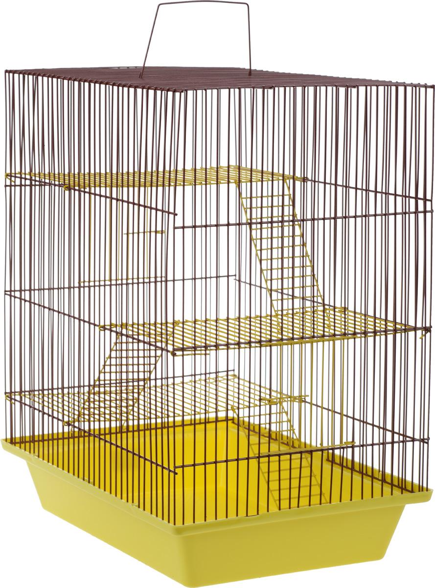 Клетка для грызунов ЗооМарк Гризли, 4-этажная, цвет: желтый поддон, коричневая решетка, желтые этажи, 41 х 30 х 50 см. 240ж240ж_желтый, коричневыйКлетка ЗооМарк Гризли, выполненная из полипропилена и металла, подходит для мелких грызунов. Изделие четырехэтажное. Клетка имеет яркий поддон, удобна в использовании и легко чистится. Сверху имеется ручка для переноски. Такая клетка станет уединенным личным пространством и уютным домиком для маленького грызуна.
