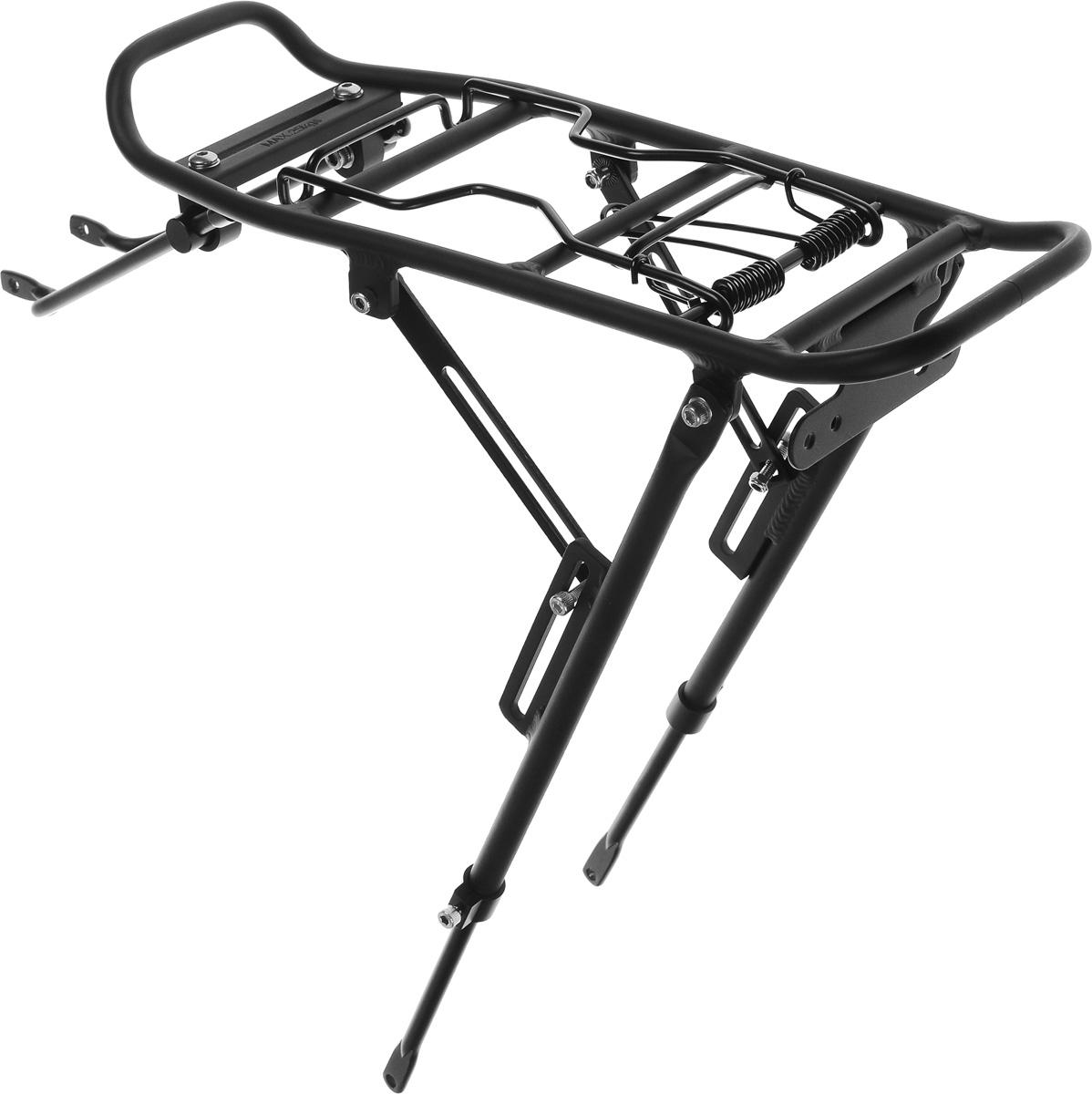 Багажник Massload, цвет: матовый черный. CL-522-1CL-522-1Велосипедный багажник Massload выполнен из высококачественного легкого металла. Изделие оснащено прижимным механизмом. Подходит для велосипедов с диаметром колеса от 24 до 28. На багажнике имеется площадка для крепления фонаря. Крепеж в комплекте. Максимальная нагрузка: 25 кг. Размер рабочей части багажника: 39 х 14 см.