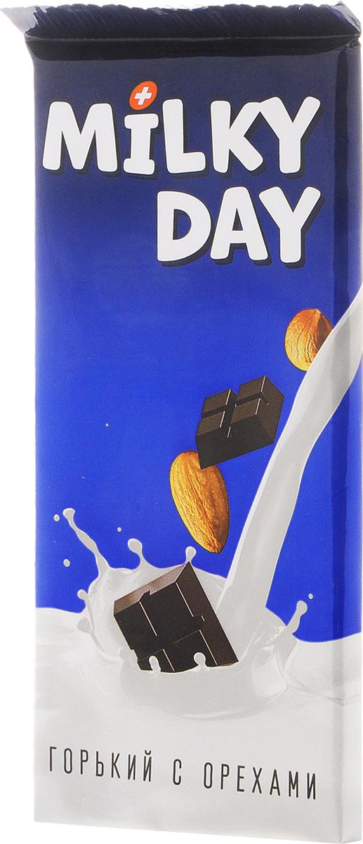 Milky Day кондитерская плитка горькая со злаками и орехами, 90 г