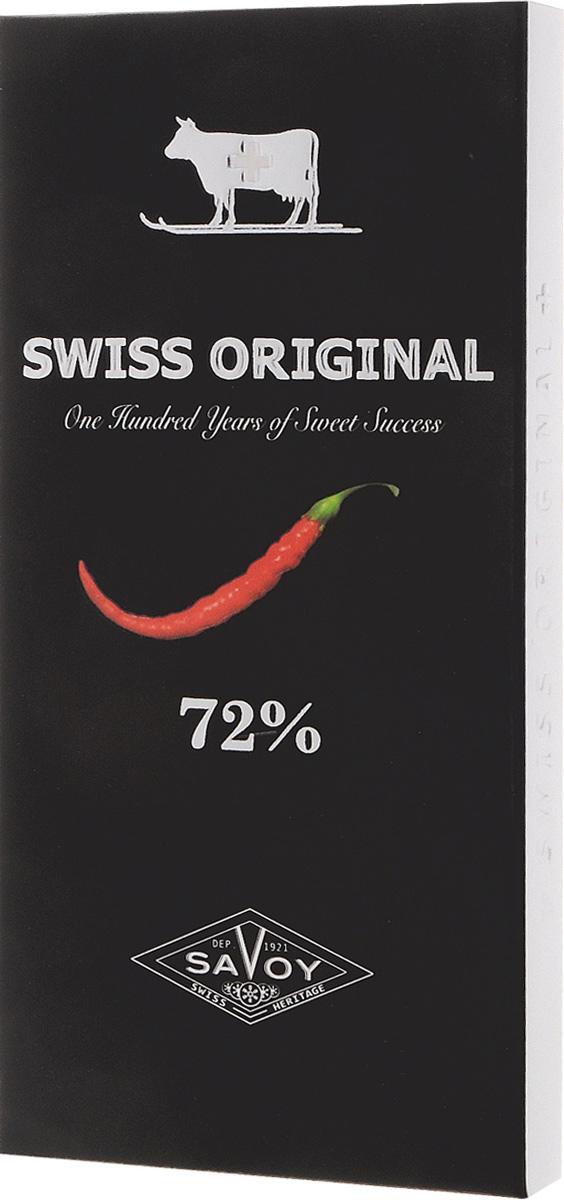 Swiss Original горький шоколад с кайенским перцем, 100 г14.6836Во вкусе шоколада Swiss Original доминирует нота какао-бобов из Ганы, которые после специальной обжарки сохраняют вкусовые свойства сырого какао с его богатой фруктовой палитрой. Кайенский перец из тропической Америки придает горькому шоколаду пикантный острый вкус