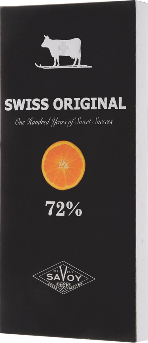 Swiss Original горький шоколад с кусочками апельсина, 100 г14.6058Экстремально горький шоколад Swiss Original имеет энергичный вкус с нотками ежевики, характерными для какао-бобов из Мадагаскара. Кусочки сочных марокканских апельсинов обогащают горечь благородной цитрусовой кислинкой.
