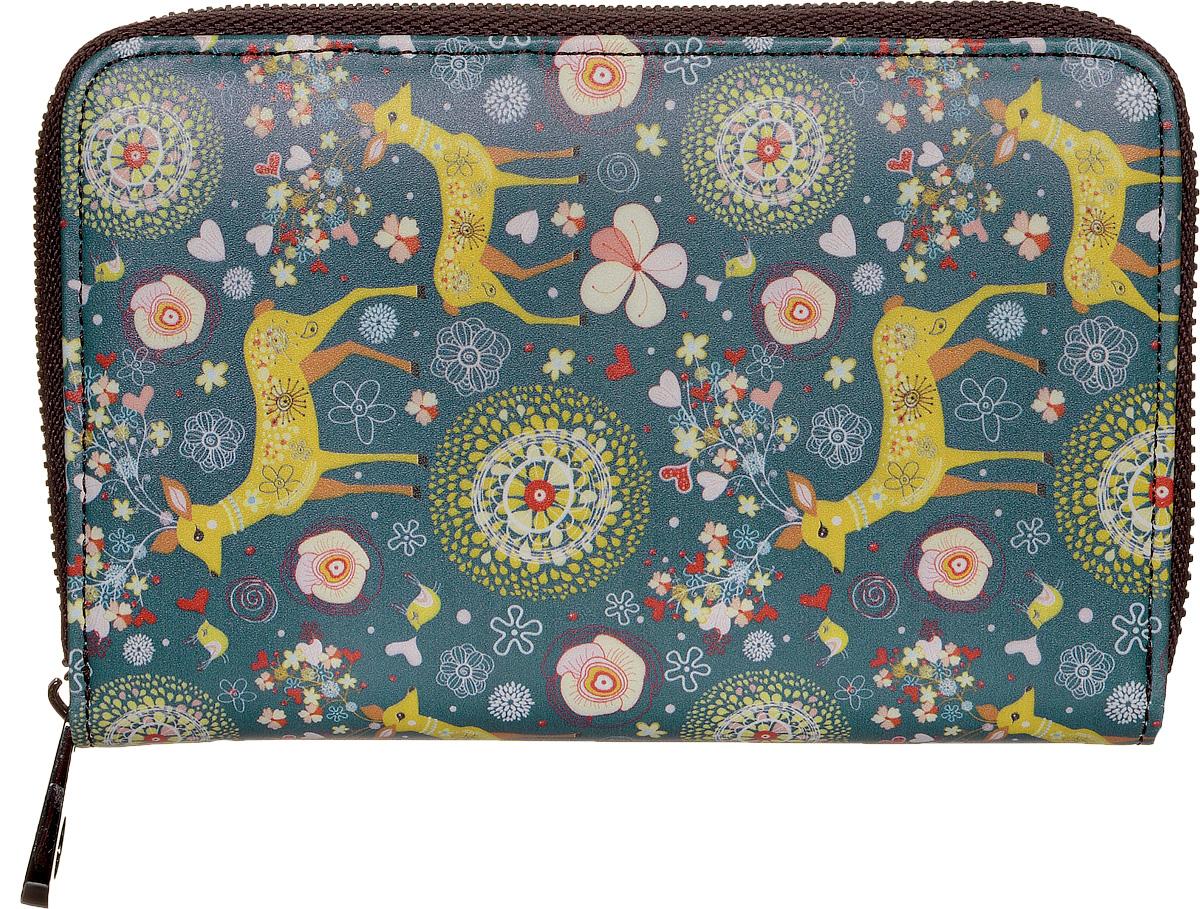 """Кошелек женский Kawaii Factory """"Олени"""", цвет: серо-синий. KW057-000528"""