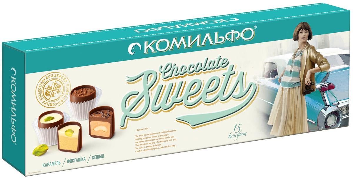 Комильфо шоколадные конфеты ассорти, 174 г12287897Каждая конфета Комильфо - это неповторимое сочетание нежной текстуры, нескольких восхитительных начинок в обрамлении превосходного шоколада и акцента в виде изысканного украшения. Уникальные конфеты словно выполнены вручную и упакованы в премиальную, женственную, подарочную коробку. Отличный повод поделиться с родными и близкими и побаловать себя. В наборе конфеты трех видов: карамель, фисташка, кешью. Уважаемые клиенты! Обращаем ваше внимание, что полный перечень состава продукта представлен на дополнительном изображении.