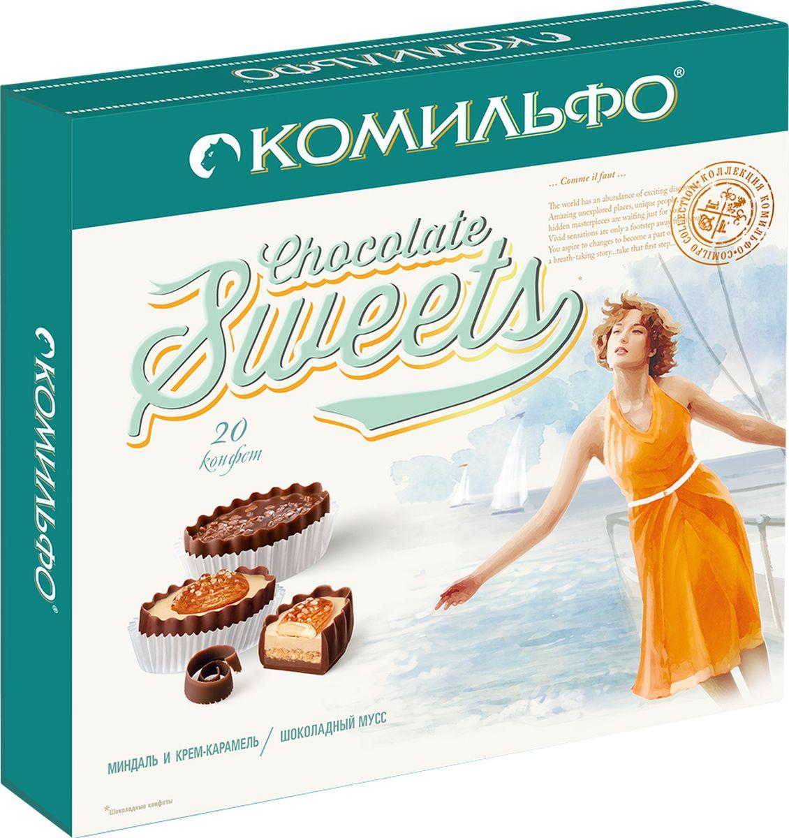 Комильфо шоколадные конфеты крем-брюле шоколадный мусс, 232 г