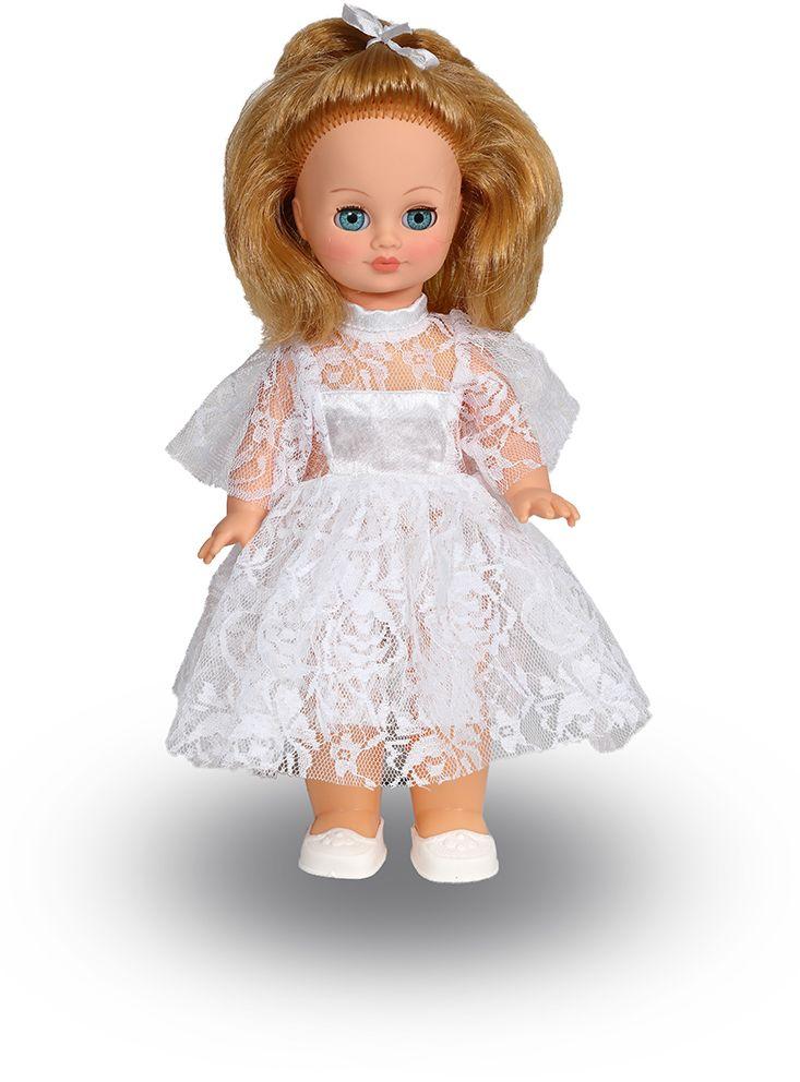 Весна Кукла Лена озвученнаяВ13/оУ ангелочка Лены ясные голубые глаза и блестящие русые волосы. На ней надето прелестное белоснежное платьице из кружевного полотна с шёлковыми вставками и туфельки. У Лены закрываются глазки, и она умеет разговаривать. При нажатии на звуковое устройство, вставленное в спинку, кукла произносит следующие фразы: -Мама, -Почитай мне книжку. -Давай поиграем. -Есть хочу. -Хочу спать. Очаровательная кукла Весна покорит сердце любой девочки! Обаятельный внешний вид и прелестные одежки игрушечных красавиц вызывают только самые добрые и положительные эмоции. Куклы производятся на российских фабриках из нетоксичных, безопасных для детей материалов. Они отличаются высоким качеством, проработанностью деталей и гармоничными пропорциями тела. Голова и ручки кукол изготовлены из эластичного винила, очень приятного на ощупь, а туловище и ножки - из прочной пластмассы. У кукол густые мягкие волосы, которые можно мыть, расчесывать и заплетать как только захочется....