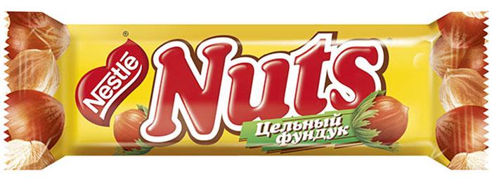 Nuts шоколадный батончик, 50 г12266035Шоколадный батончик с цельным фундуком, карамелью и нежной нугой, покрытый молочным шоколадом. NUTS Заряжай мозги! Шоколадный батончик с цельным фундуком, карамелью и нугой, покрытый молочным шоколадом.