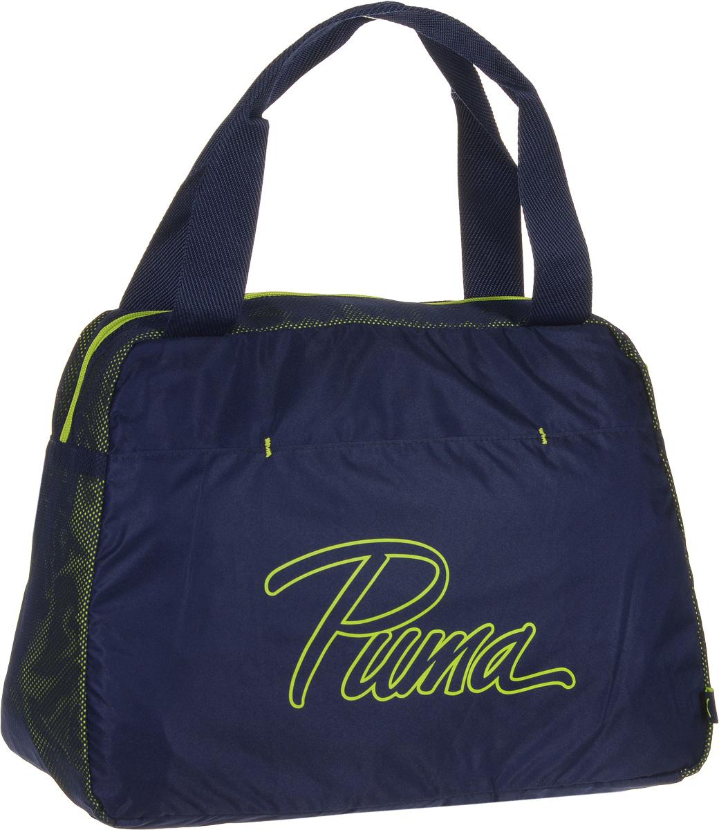 Сумка женская Puma Core Grip Bag, цвет: синий. 0737960607379606Сумка Puma Core Grip Bag - удобная сумка для небольших путешествий, прогулок или работы. В ее вместительном основном отделении вы сможете хранить все нужные вам вещи. Главное отделение на молнии с двумя бегунками. Внутри оснащено двумя накладными карманами и карманом на молнии. На внешней стороне - открытый карман. Строгий и стильный дизайн этой сумки дополнен логотипом Puma. Удобные ручки из ткани обладают высокой прочностью, а дно сумки держит форму. Основанный в 1948 году бренд Puma стал выбором многих героев мирового спорта. Дизайн Puma сосредоточен на стиле и функциональности моделей, поэтому коллекции брендовой одежды и обуви сочетают современный стиль с инновационными спортивными технологиями.