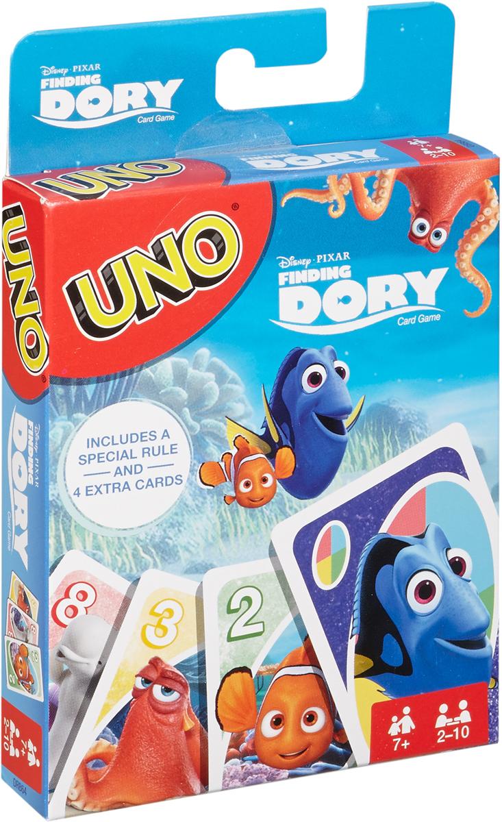 Mattel Games Настольная игра Uno В поисках ДориDRB64Перед вами вариант любимой игры Uno с героями фильма от Disney и Pixar В поисках Дори! Цель игры - первым избавиться от карт, совмещая их с картой, находящейся наверху колоды. Особые карты с правилами Дори, а также две изменяемые карты помогут вам справиться с соперниками и преобразуют знакомую игру до неузнаваемости! Чтобы заработать очки, первыми избавьтесь от всех карт на руках. Выигрывает тот игрок или команда, кому первым удастся получить 500 очков. И не забудьте крикнуть Uno, когда у вас останется одна карта! В комплект входит 112 карт и правила на русском языке. Количество игроков: от 2 до 10. Для детей в возрасте от 7 лет.