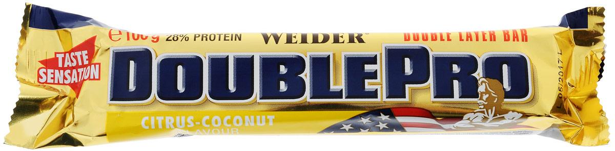 Батончик протеиновый Weider DoublePro, цитрус-кокос, 100 г30787Протеиновый батончик Weider DoublePro - самый вкусный источник белка и энергии. Это двухслойный батончик, который содержит 28% многокомпонентного высококачественного протеина и различной длины углеводы. Продукт надолго снабжает вас белками и углеводами. Рекомендации по применению: Употребляйте после тренировки или просто заменяйте прием пищи. Состав: сироп глюкозы, казеинат кальция, сироп фруктозы, глазурь из молочного шоколада (сахар, масло какао, молочный порошок, какао масса, эмульгатор: соя-лецитин, вкусовые наполнители), ореховое пюре, сывороточный протеин, гидролизат коллагенового протеина, растительное масло, декстроза, измельченный лесной орех, 0,4 г маложирного какао порошка, сушеные банановые хлопья, порошок карамели, соль. Товар сертифицирован.