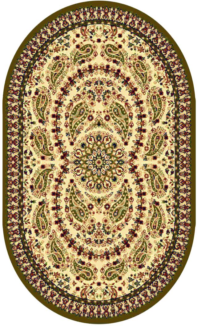 Ковер Kamalak tekstil, овальный, цвет: кремовый, 100 x 150 см. УК-0174УК-0174Ковры-паласы выполнены из полипропилена. Ковры обладают хорошими показателями теплостойкости и шумоизоляции. Являются гиппоалергенными. За счет невысокого ворса ковры легко чистить. Вам придется по душе широкая гамма цветов и возможность гармонично оформить интерьер. Практичный и устойчивый к износу ворс - от постоянного хождения не истирается, не накапливает статическое электричество. Структура волокна в полипропиленовых моделях гладкая, поэтому грязь не может выесться, на ворсе она скапливается с трудом. Полипропилен не впитывает влагу, отталкивает водянистые пятна. Уход: Самый простой способ избавить изделие от грязи – пропылесосить его с обеих сторон (лицевой и изнаночной). Влажная уборка с применением шампуней и моющих средств не противопоказана. Если шерсти и шёлку универсальные чистящие составы не подходят, то для синтетики они придутся в самый раз. Хранить их нужно рулоном, не складывая «салфеткой». При надлежащем уходе синтетический ковёр прослужит долго, не утратив ни...