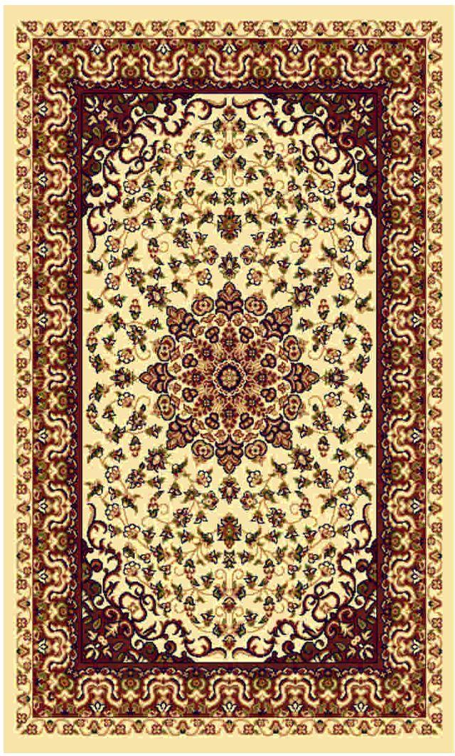 Ковер Kamalak tekstil, прямоугольный, цвет: кремовый, 100 x 150 см. УК-0207УК-0207Ковры-паласы выполнены из полипропилена. Ковры обладают хорошими показателями теплостойкости и шумоизоляции. Являются гиппоалергенными. За счет невысокого ворса ковры легко чистить. Вам придется по душе широкая гамма цветов и возможность гармонично оформить интерьер. Практичный и устойчивый к износу ворс - от постоянного хождения не истирается, не накапливает статическое электричество. Структура волокна в полипропиленовых моделях гладкая, поэтому грязь не может выесться, на ворсе она скапливается с трудом. Полипропилен не впитывает влагу, отталкивает водянистые пятна. Уход: Самый простой способ избавить изделие от грязи – пропылесосить его с обеих сторон (лицевой и изнаночной). Влажная уборка с применением шампуней и моющих средств не противопоказана. Если шерсти и шёлку универсальные чистящие составы не подходят, то для синтетики они придутся в самый раз. Хранить их нужно рулоном, не складывая «салфеткой». При надлежащем уходе синтетический ковёр прослужит долго, не утратив ни...