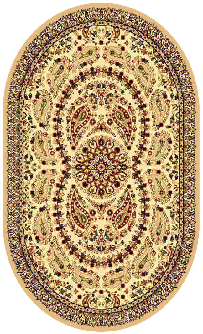 Ковер Kamalak tekstil, овальный, цвет: кремовый, 80 x 150 см. УК-0170УК-0170Ковры-паласы выполнены из полипропилена. Ковры обладают хорошими показателями теплостойкости и шумоизоляции. Являются гиппоалергенными. За счет невысокого ворса ковры легко чистить. Вам придется по душе широкая гамма цветов и возможность гармонично оформить интерьер. Практичный и устойчивый к износу ворс - от постоянного хождения не истирается, не накапливает статическое электричество. Структура волокна в полипропиленовых моделях гладкая, поэтому грязь не может выесться, на ворсе она скапливается с трудом. Полипропилен не впитывает влагу, отталкивает водянистые пятна. Уход: Самый простой способ избавить изделие от грязи – пропылесосить его с обеих сторон (лицевой и изнаночной). Влажная уборка с применением шампуней и моющих средств не противопоказана. Если шерсти и шёлку универсальные чистящие составы не подходят, то для синтетики они придутся в самый раз. Хранить их нужно рулоном, не складывая «салфеткой». При надлежащем уходе синтетический ковёр прослужит долго, не утратив ни...