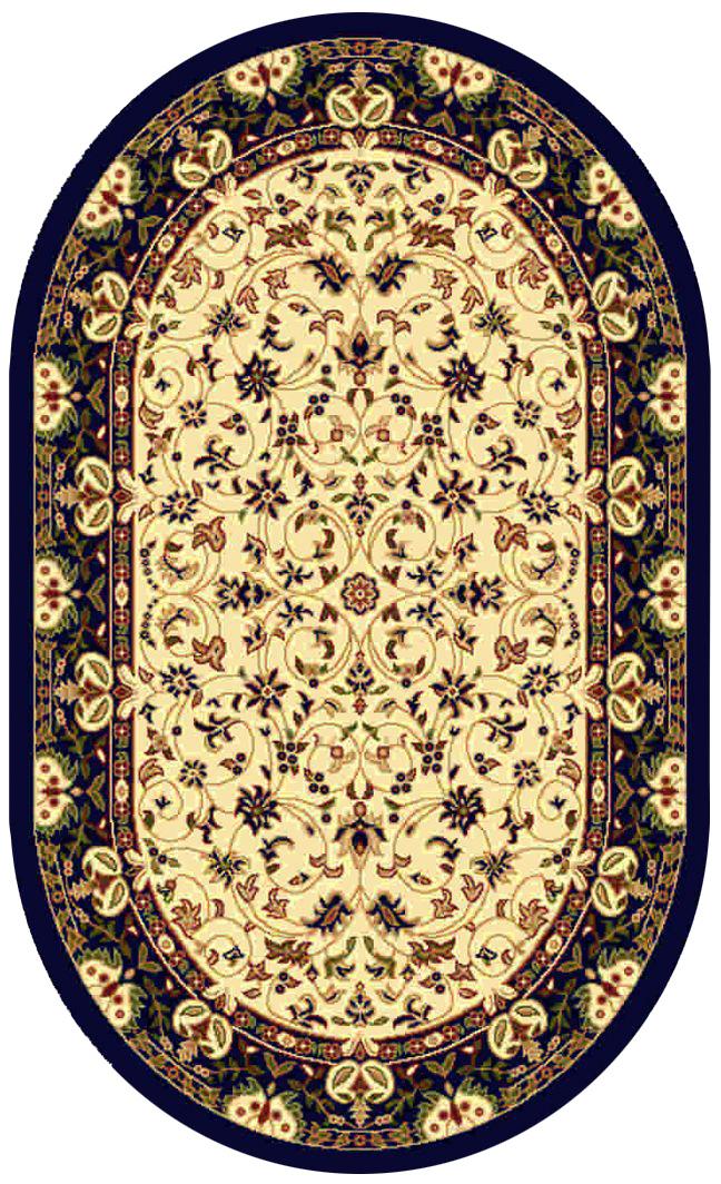 Ковер Kamalak tekstil, овальный, цвет: кремовый, 100 x 150 см. УК-0138УК-0138Ковры-паласы выполнены из полипропилена. Ковры обладают хорошими показателями теплостойкости и шумоизоляции. Являются гиппоалергенными. За счет невысокого ворса ковры легко чистить. Вам придется по душе широкая гамма цветов и возможность гармонично оформить интерьер. Практичный и устойчивый к износу ворс - от постоянного хождения не истирается, не накапливает статическое электричество. Структура волокна в полипропиленовых моделях гладкая, поэтому грязь не может выесться, на ворсе она скапливается с трудом. Полипропилен не впитывает влагу, отталкивает водянистые пятна. Уход: Самый простой способ избавить изделие от грязи – пропылесосить его с обеих сторон (лицевой и изнаночной). Влажная уборка с применением шампуней и моющих средств не противопоказана. Если шерсти и шёлку универсальные чистящие составы не подходят, то для синтетики они придутся в самый раз. Хранить их нужно рулоном, не складывая «салфеткой». При надлежащем уходе синтетический ковёр прослужит долго, не утратив ни...